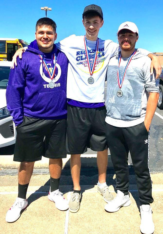 Mauricio Rojas, left, Keaton Watlington, center, and Juan Gonzalez each are advancing to the 2019 Texas State UIL Tennis Championship at Texas A&M University in May.