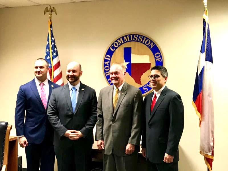 Seen on Monday's visit, from left, are Rep. Ernest Bailes, Rep. Cody Harris, RRC Commissioner Wayne Christian of Center, and House Energy Resources Committee Chairman Chris Paddie, District 9 State Representative.